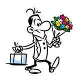 Man holiday gift bouquet flowers cake cartoon Royalty Free Stock Photography