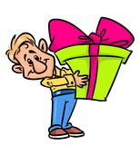 Man holiday great gift cartoon illustration Stock Photography