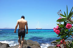 Man On Holiday. In tranquil surroundings royalty free stock photography