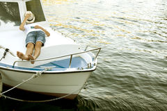 Man holiday on the yacht Royalty Free Stock Image