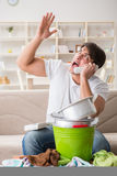 The man at home dealing with neighbor flood leak Stock Photos