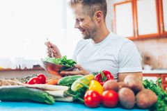 A man at home on a diet Stock Photography