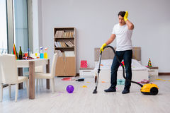 The man at home after heavy partying Stock Photography