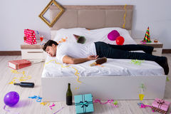 The man at home after heavy partying Royalty Free Stock Photos