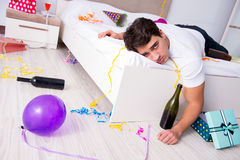 The man at home after heavy partying Royalty Free Stock Images