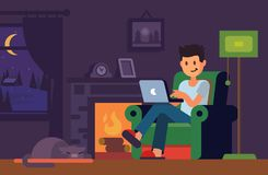 Man in home interior looking in notebook. Man sitting on sofa with laptop at home. Vector flat Stock Images