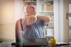 Man suffering from neck pain Royalty Free Stock Photos