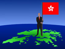 Man with Hong Kong flag Royalty Free Stock Photography