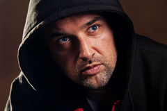 Man with hood Stock Image