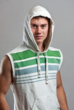 Man in a hood. Handsome young man in a hood Royalty Free Stock Image