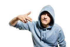 Man in a hood Stock Images