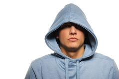 Man in a hood. Handsome young man in a hood Stock Photo