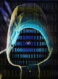 Digital man. Man in hood with digital numbers Royalty Free Stock Photos