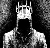 Man in hood without face with crown. Black and white hand drawn illustration Royalty Free Stock Photography