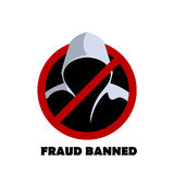 Man in hood Fraud banned sign vector Royalty Free Stock Image
