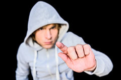 Man in hood jacket Royalty Free Stock Photo