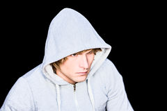 Man in hood jacket Royalty Free Stock Image