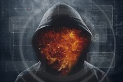 Man in a hood with space instead of a face royalty free stock image