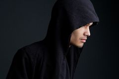 Man with hooded sweatshirt Stock Photography