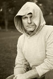Man in in hooded top Stock Image
