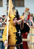Man with horn. KAMYANETS-PODILSKY- JUNE 2: Undefined team mascot during Forpost (The Outpost) Festival of Medieval Culture on June 2, Ukraine stock photos