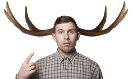 The man with the horns, the concept of female infidelity,. Hipster cuckold stock images