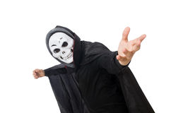 Man in horror costume with mask isolated on white Stock Images