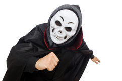 Man in horror costume with mask isolated on white Royalty Free Stock Photography
