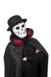 Man in horror costume with mask isolated on white Stock Photography