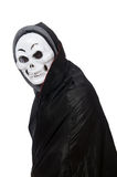 Man in horror costume with mask isolated on white Royalty Free Stock Photos