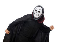 Man in horror costume with mask isolated on white Royalty Free Stock Image