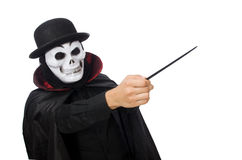 Man in horror costume with mask isolated on white Stock Photo
