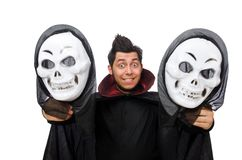 Man in horror costume with mask isolated on white Royalty Free Stock Photo