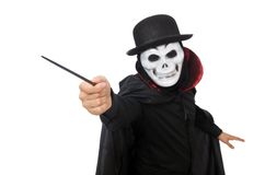 Man in horror costume with mask isolated on the Royalty Free Stock Photography