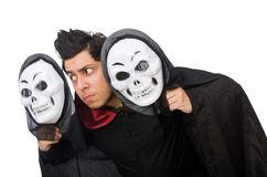 Man in horror costume with mask isolated on the Stock Photography