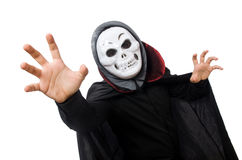 Man in horror costume with mask isolated on white Stock Photos