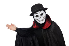 Man in horror costume with mask isolated on white Stock Image
