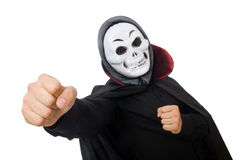Man in horror costume with mask isolated on white Royalty Free Stock Images