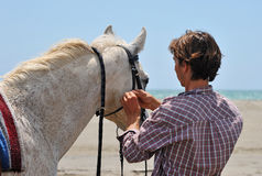 Man and horse Royalty Free Stock Images