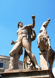 Man and horse. Sculpture in Quirinale square, Rome, Italy Royalty Free Stock Photo