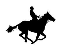 Man on the horse. Silhouette of the horseman on the horse. A black silhouette on a white background stock images