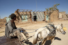 Man with a horse and cart, Ethiopia Royalty Free Stock Image