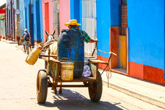 Man on horse drawn cart on the street of Trinidad, Cuba Stock Photos
