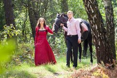 Man on horse and girl Royalty Free Stock Photos
