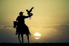 Man on horse with hawk Royalty Free Stock Images