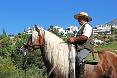 Man on horse, Romeria San Bernabe, Marbella, Spain. Royalty Free Stock Images