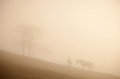 Man and horse silhouette on the hill Stock Photos