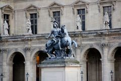 Man on horse statue at the Louvre in Paris. A picture of man on horse statue at the Louvre in Paris Stock Photography