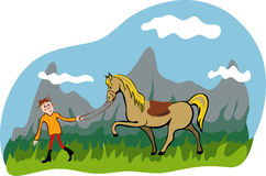 Man and horse walking in the mountain Royalty Free Stock Image