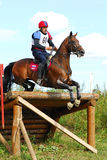 Man horsebak on jumping obstacle chestnut horse. Triathlon in Russia Stock Photography
